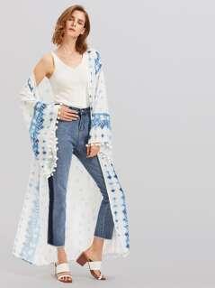 Pom Pom Trim Exaggerate Fluted Sleeve Kimono