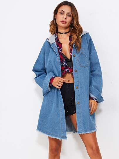 Raw Hem Contrast Hooded Denim Coat