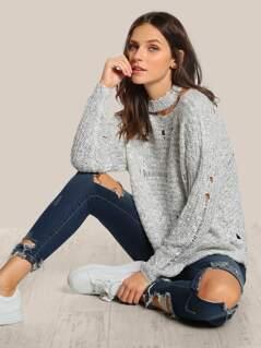 Choker Crochet Distressed Sweater OATMEAL