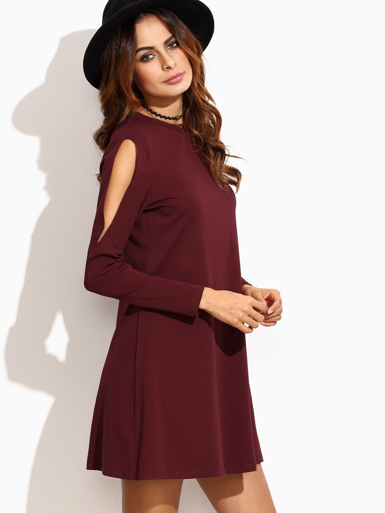 Kleid Cut-Outs am Schulter - burgund rot