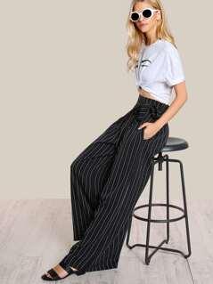 Striped High Rise Flare Leg Pants BLACK