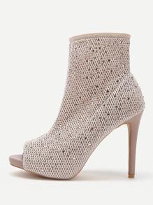 Peep Toe High Heel Ankle Boots