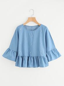 Bead Decreation Ruffle Sleeve And Hem Blouse