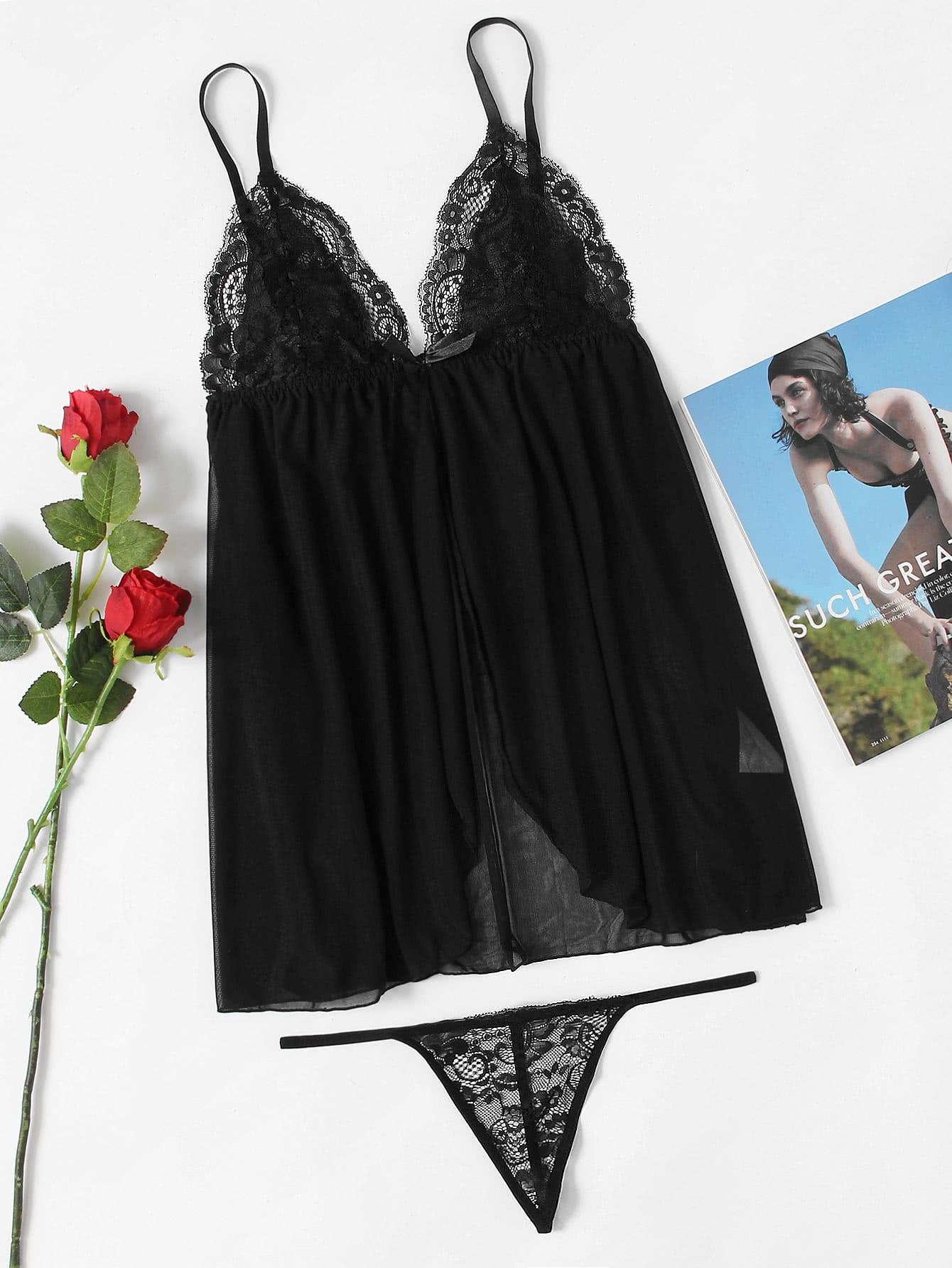 Купить Модное платье на бретельках и модные трусики, null, SheIn