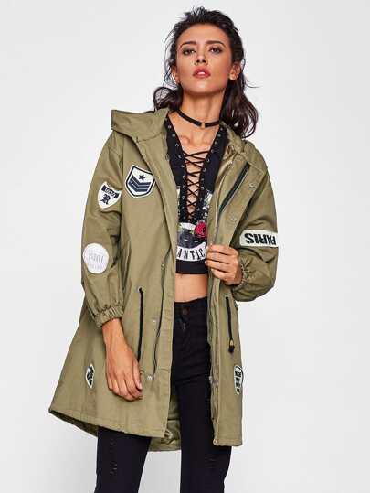 Applique Drawstring Hem Hooded Jacket