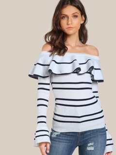 Off Shoulder Flounce Ribbed Top WHITE