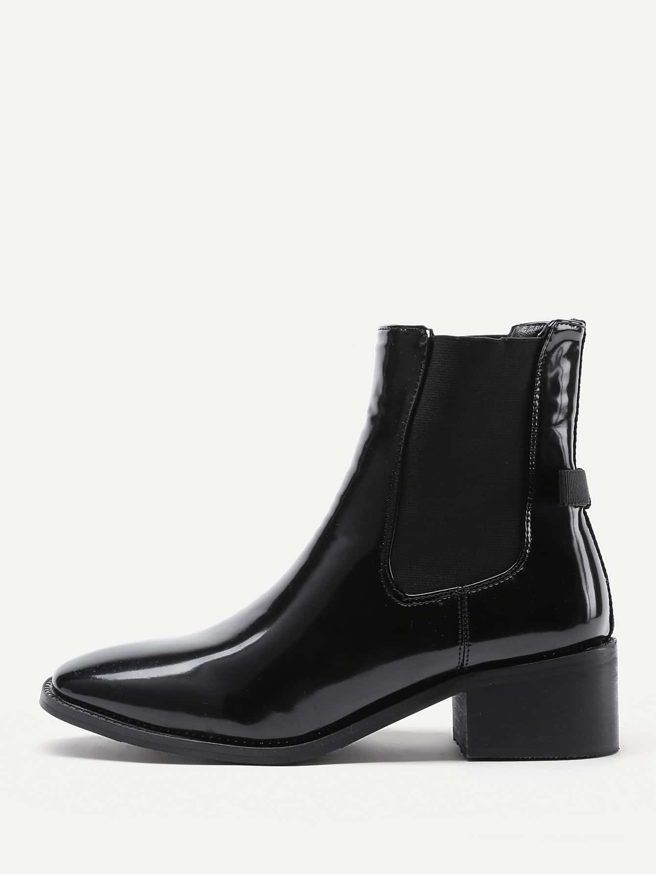 Image of Almond Toe Patent Leather Ankle Boots