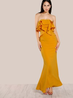 Layered Flounce Maxi Gown Dress MUSTARD
