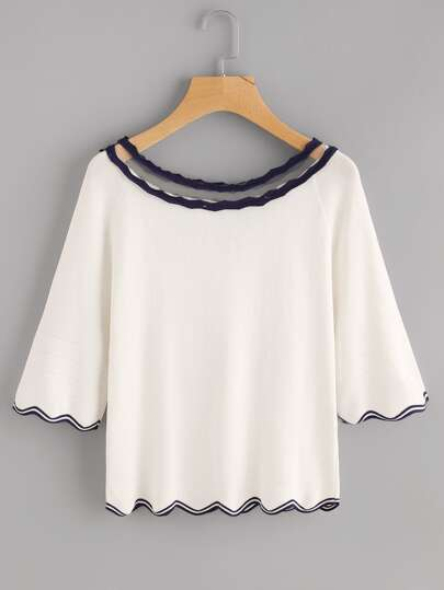 Contrast Trim Knit Sweater