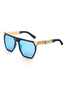Gafas de sol extragrande con parte superior plana y lente flash