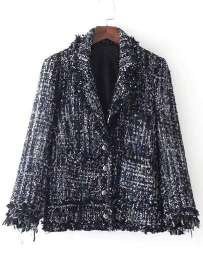 Marled Knit Frayed Edge Coat