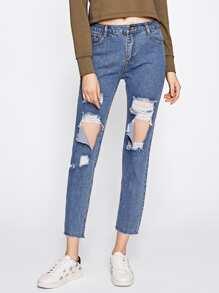 Ripped Frayed Hem Jeans