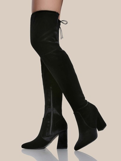velvet pointy toe thigh high boots black shein sheinside