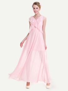 V-neckline Frill Trim Chiffon Dress