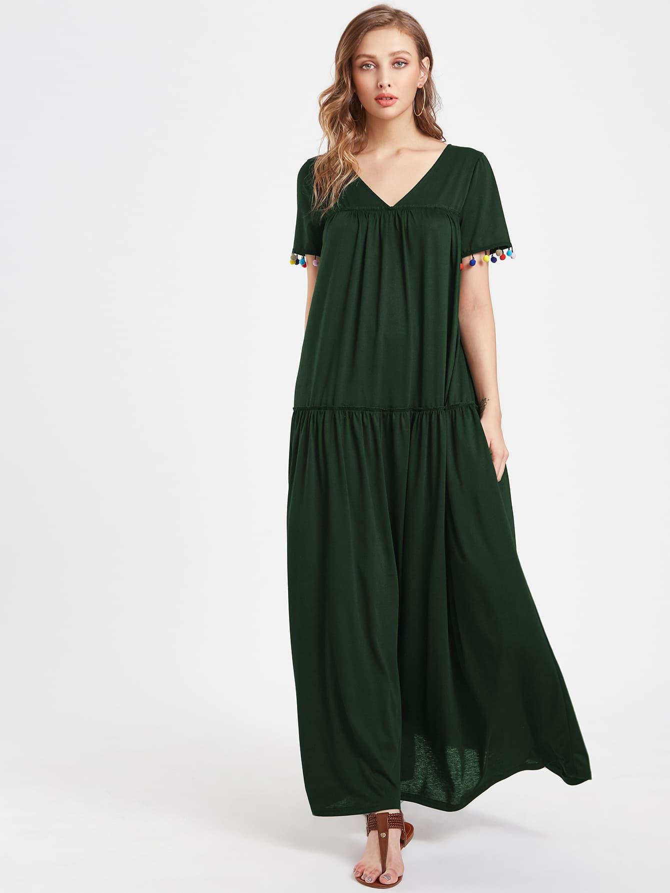 V Neckline Pom Pom Full Length Dress