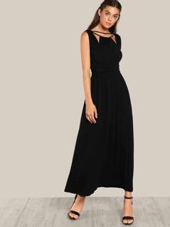 Drawstring Cut Out Dress BLACK