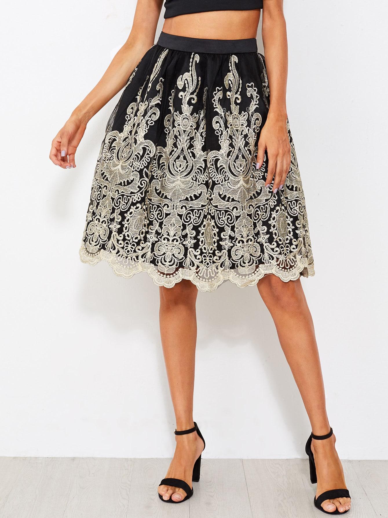 Scallop Hem Embroidered Mesh Overlay Volume Skirt scallop embroidered mesh overlay cami top