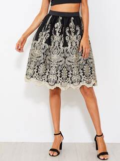 Scallop Hem Embroidered Mesh Overlay Volume Skirt