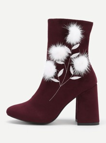 Pom Pom Detail Block Heeled Boots