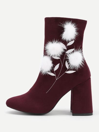 Pom Pom Detail Block Heeled Boots