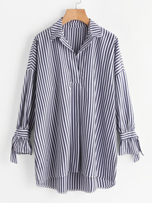 Contrast Stripe Drop Shoulder Tie Detail Longline Blouse