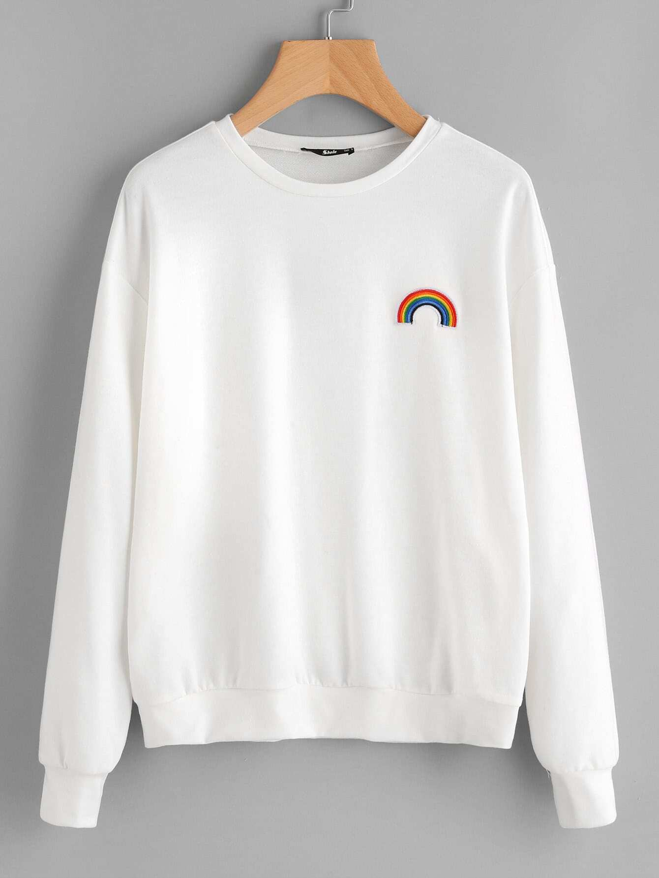 Rainbow Embroidery Drop Shoulder Sweatshirt