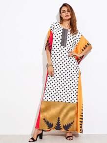 Mixed Print Poncho Dress
