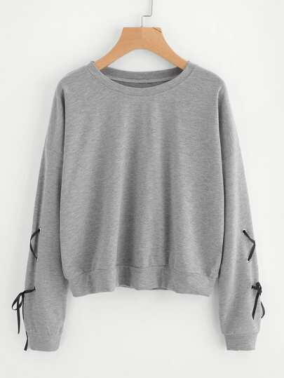 Eyelet Lace Up Sleeve Sweatshirt