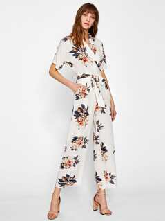 Flower Print Self Belted Shirt Jumpsuit