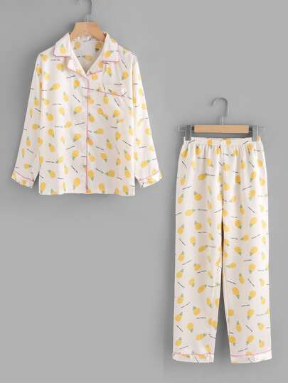 Pineapple Allover Print Top And Pants