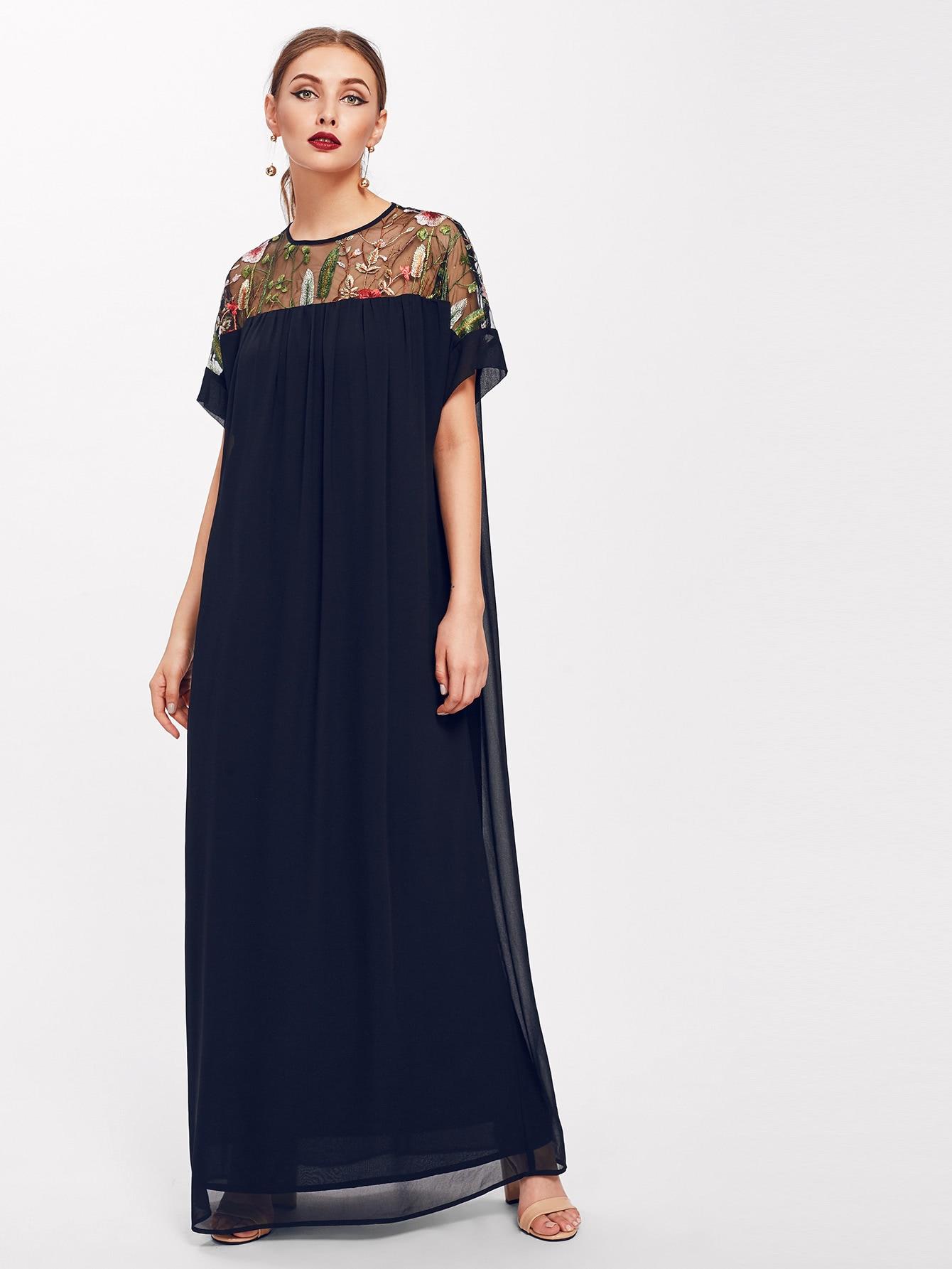 Keyhole Embroidered Mesh Yoke Dress embroidered mesh yoke heather knit tee