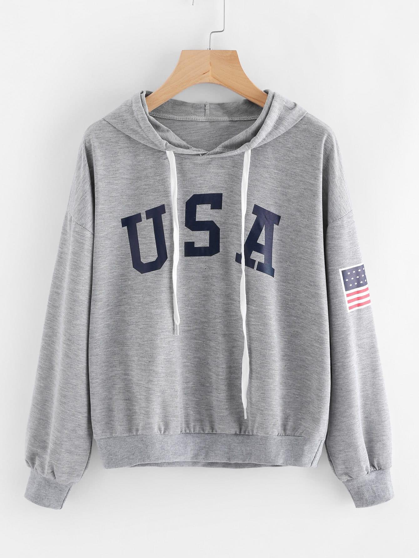 Hoodie mit amerikanischem Flagge Muster