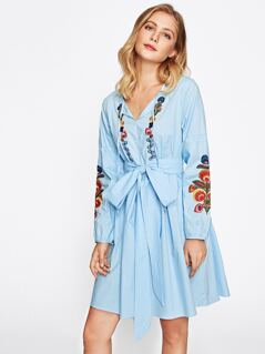 Tie Neck Lantern Sleeve Embroidered Smock Dress