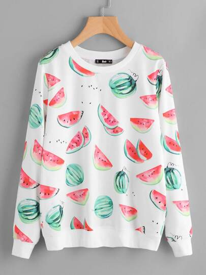Allover Watermelons Print Sweatshirt