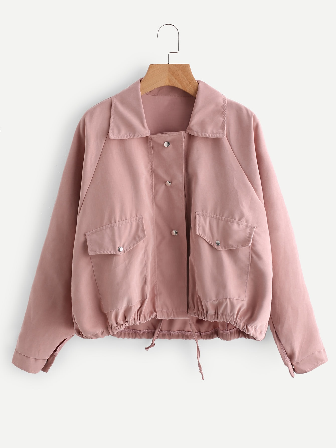 Drawstring Hem Double Pockets Jacket