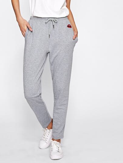 Lip Embroidered Heather Knit Sweatpants
