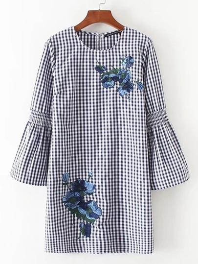 Bell Sleeve Flower Embroidery Gingham Dress