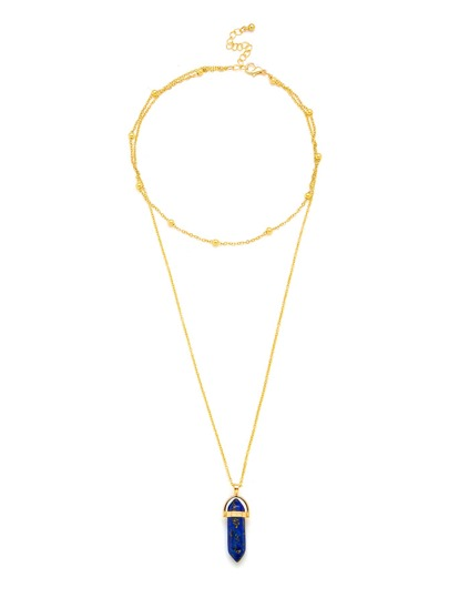 Contrast Crystal Pendant Layered Chain Necklace