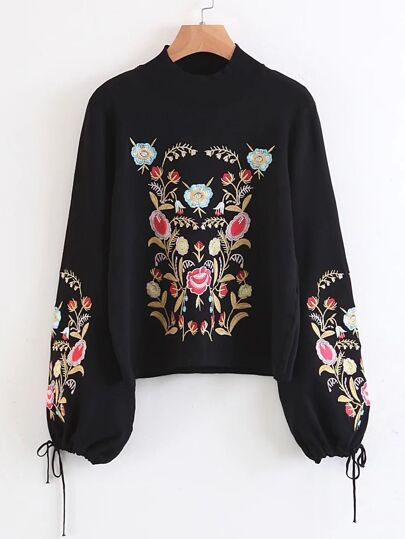 Flower Embroidery Drawstring Lantern Sleeve Pullover Sweater