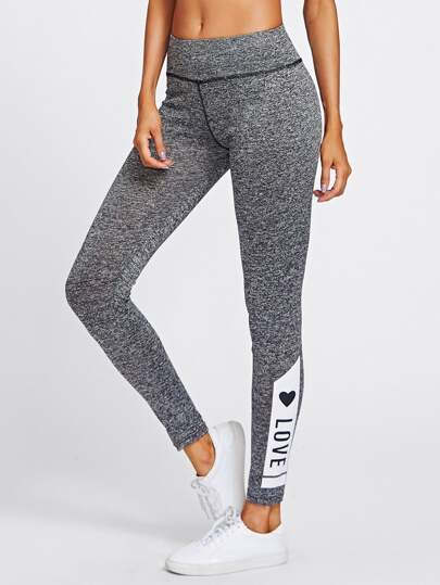 LOVE Print Marled Knit Leggings