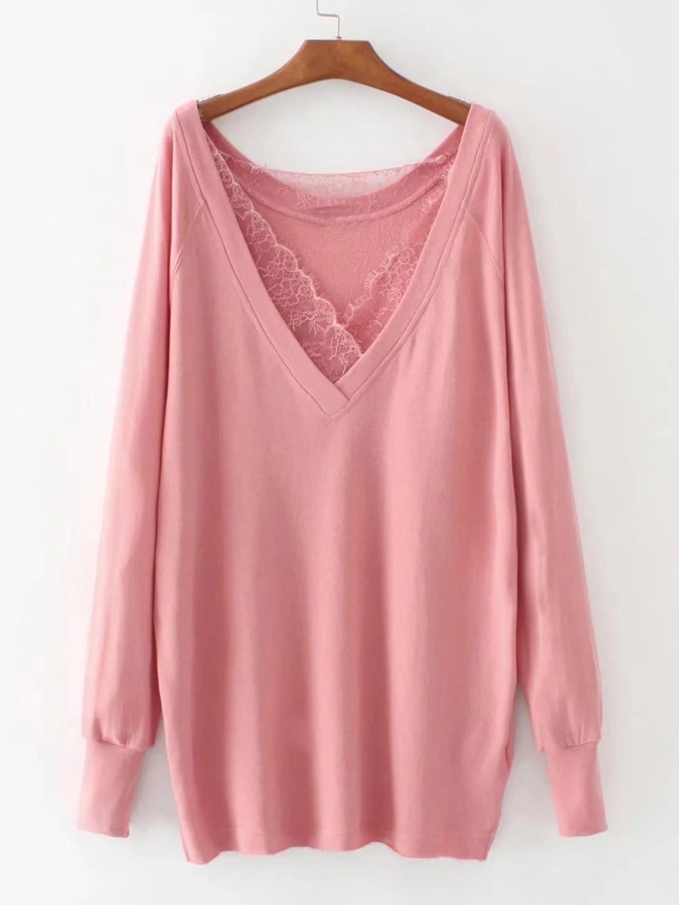 Lace Insert Raglan Sleeve Plunge Sweatshirt two tone raglan sleeve sweatshirt