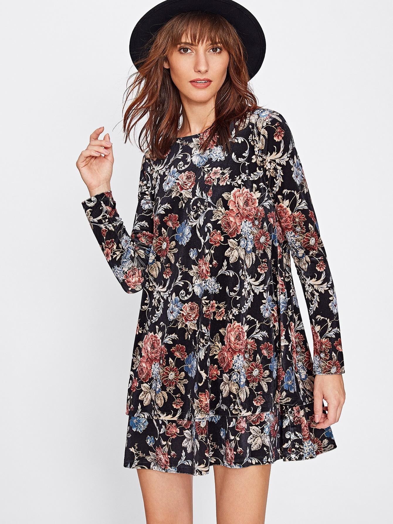 Flower Print Swing Velvet Dress lace velvet swing dress
