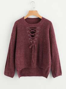 Eyelet Lace Up Dip Hem Sweater