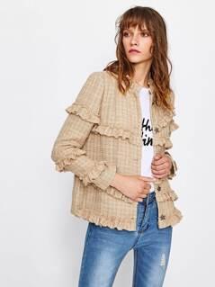 Frill Trim Tweed Blazer