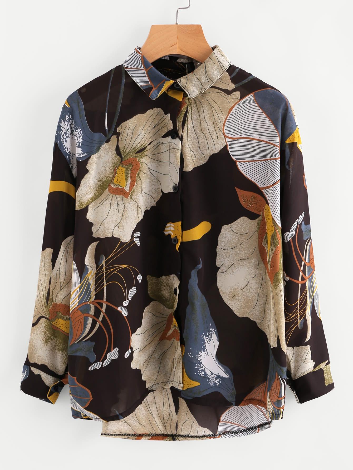 All Over Florals Dip Hem Shirt all over florals dip hem shirt