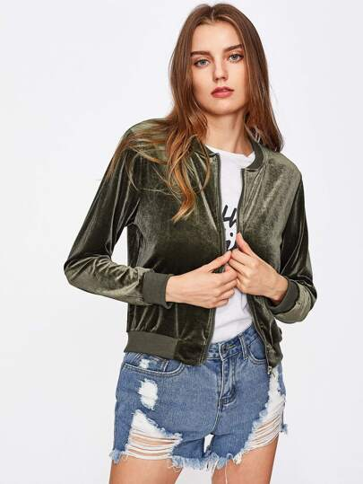 Velvet Ribbed Trim Jacket