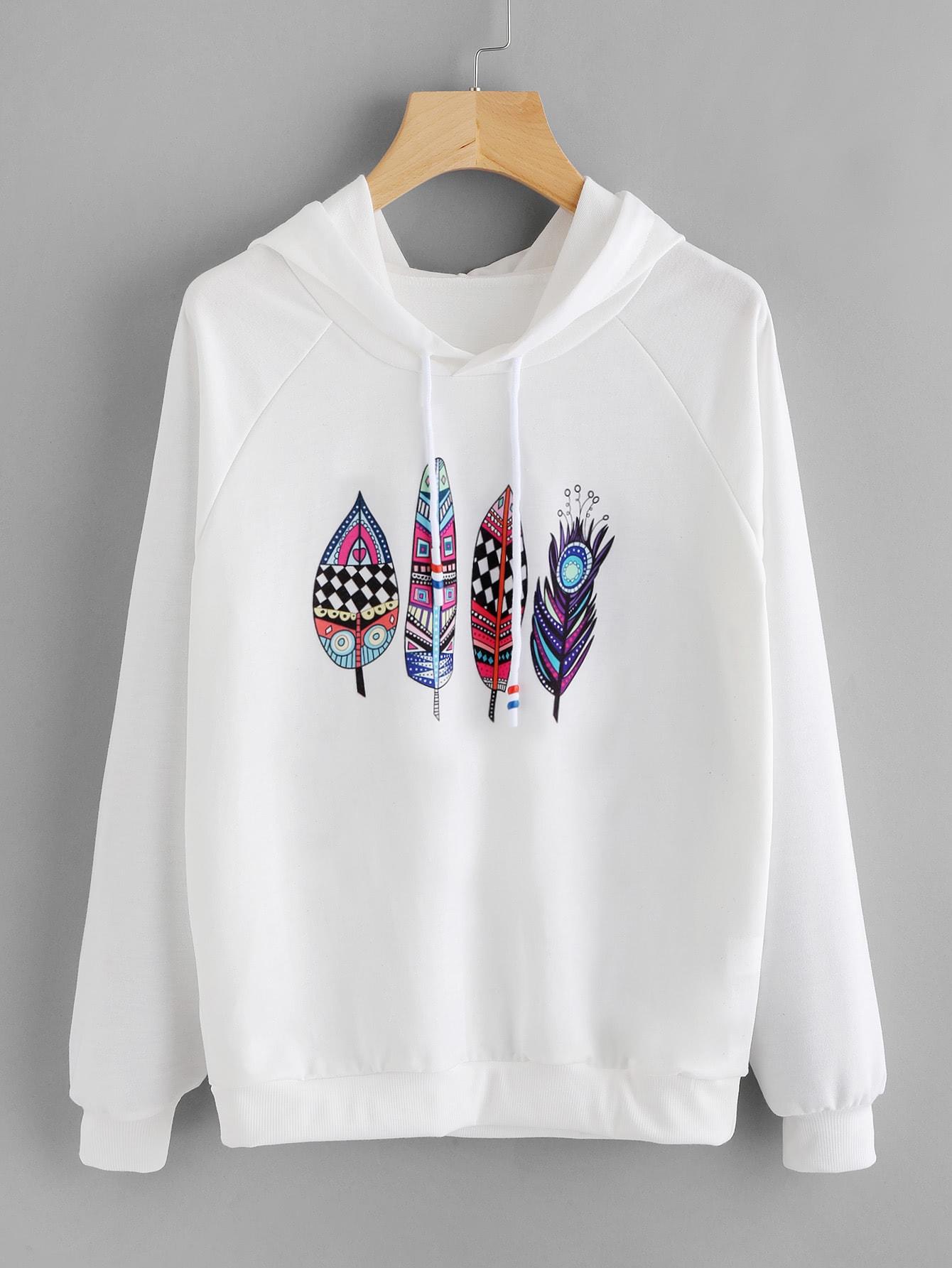 Aztec Feather Print Raglan Sleeve Hoodie feather printed raglan sleeve tee