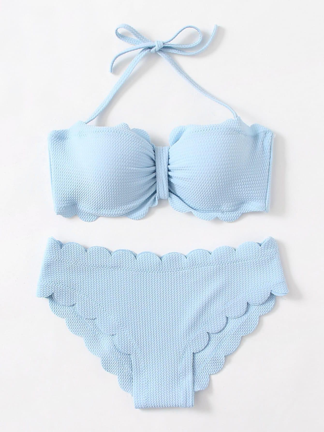 Scalloped Trim Textured Bikini Set swimwear170801303