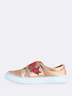 Velcro Strap Floral Embroidered Sneakers BLUSH
