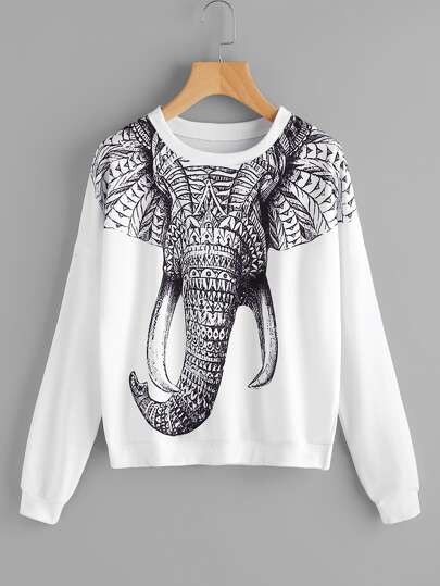 Elephant Printed Sweatshirt